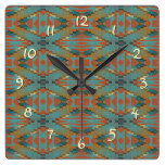 Ochre Orange Teal Native American Indian Pattern Square Wall Clocks