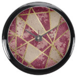 Rustic Chic Burgundy Red Glitter & Gold Triangles Fish Tank Clock