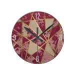 Rustic Chic Burgundy Red Glitter & Gold Triangles Round Wall Clock