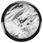 Simple Rustic White Painted Brushstrokes on Black Aqua Clocks