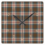 Teal Blue Red Brown Lumberjack Tartan Pattern Square Wall Clock