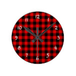 Traditional Red Black Buffalo Check Plaid Pattern Round Wall Clock