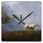 White Horse Rustic Country Landscape Horses Equine Square Wall Clocks