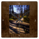 Woodland Path and Fairy Bridge, rustic look Square Wallclock