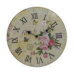 Hippih Silent Round Wall Clocks (12 Inches) Living Room Decorative Vintage / Country / French Style Wooden Clock(Round Flower)