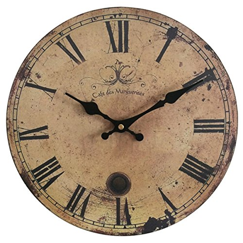 Eruner 12-inch Vintage Wood Wall Clock – France Paris *Cafe des Marguerites* Country Retro Style Non-Ticking Silent Wooden Wall Clock (#09, 12″)