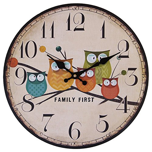 Cute Wall Clock, 14″ Eruner Modern Family Animated Cartoon Decoration 14-Inch Wood Clock Painted Owl Lovely Style Silent Quartz Movement #12888 for Child Kid's Room Decal(14″ Owl, M1)