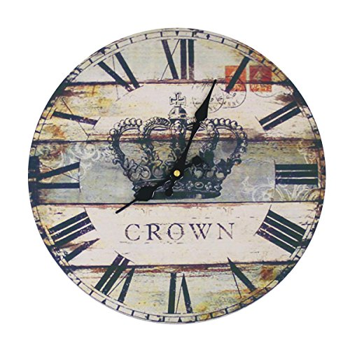 JustNile Rustic Country-Style Round Wall Clock – 13″ Stripes Crown