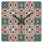 Ethnic Native American Indian Tribe Mosaic Pattern Square Wall Clock