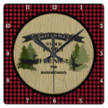 Personalized Family Welcome Mountain Lake Cabin Square Wallclocks