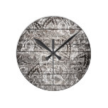 Rustic white hand drawn floral brown wood round wall clocks