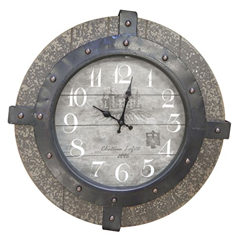 MCSAG Steel and Composite Wood Chateau Clock, 17.25-Inch
