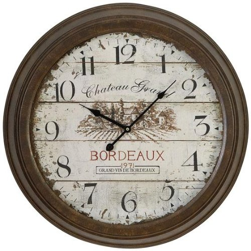 Chateau Grand Wall Clock, 23″ROUND x 4″D, BROWN