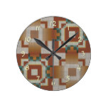 Burnt Orange Brown Teal Blue Tribal Mosaic Pattern Round Wallclock