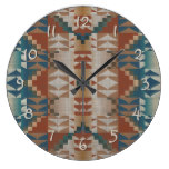 Burnt Orange Brown Teal Blue Tribal Mosaic Pattern Wallclock