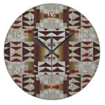 Burnt Orange Red Khaki Coffee Brown Mosaic Pattern Clock