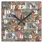 Cabin/Lodge/Country Big Time Fishing Rustic Print Square Wallclock
