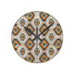 Caramel Brown Orange Dark Blue Ikat Mosaic Pattern Round Wallclock