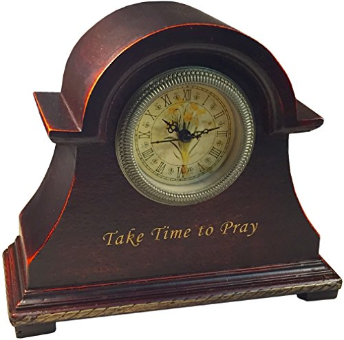 Manual A Time To Pray Kitchen Desk Shelf Wood Mantle Clock, DISCTP, 9.5×7.5″ Multi