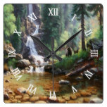 Forest Waterfall Bear Wildlife Watercolor Square Wallclock