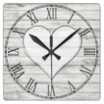 Rustic Beautiful Wood Texture Heart Square Wall Clocks