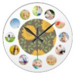 Sketch Sunflower Country Rustic Photo Collage Wall Clock