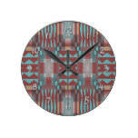 Turquoise Coral Red Brown Rustic Mosaic Pattern Round Wall Clocks