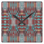 Turquoise Coral Red Brown Rustic Mosaic Pattern Square Wallclock