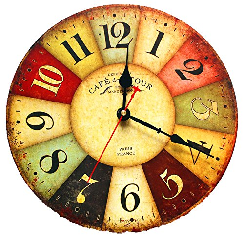 EIALA 12″ Vintage Country France Style Non-Ticking Silent Antique Wood Wall Clock (12″, Multi-color)