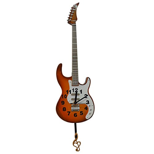 Giftgarden Pendulum Clock – Hanging Wall Clock Classical Electric Guitar Model Decorative Musical Clocks