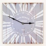 The Cape Cod Old Beach Clock Wall Clock, 13  1/2  x 13  1/2  (34x34cm), Distressed Gray and White with Rust Accent, MDF Wood, Battery Operated, By Whole House Worlds