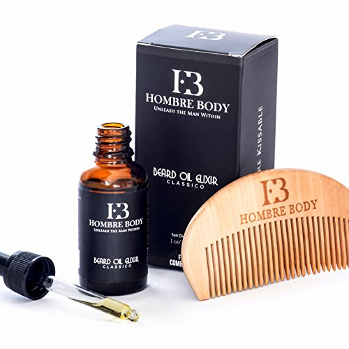 Unscented Beard Oil Elixir & Comb Gift Set for Professional Men-Facial Hair Softener, Moisturizer & Conditioner-Enriched with Antioxidants with All Natural, Organic Ingredients (30ml)