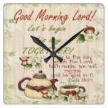 Good Morning Lord! Square Wall Clock
