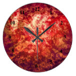Retro Abstract Art Swirls Bubbles Red Purple Gold Wallclock
