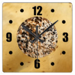 Rustic Country Western Long Horn Animal Fur Prints Square Wall Clock