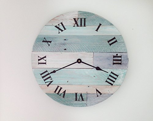 Rustic Beach Wall Clock – 16″ wide beach wall hanging clock – Nautical Theme Clock for Beach Cottage or Coastal Decor.