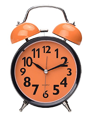 Maytime Quartz Analog Retro Vintage Simple Non-Ticking Twin Bell Alarm Clock With Loud Alarm and Nightlight 4.5″ Orange