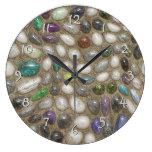 Colorful Faux Shiny 3D River Rock Stones Pattern Large Clock