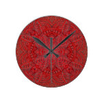 Electric Red abstract funky cute design Round Clock