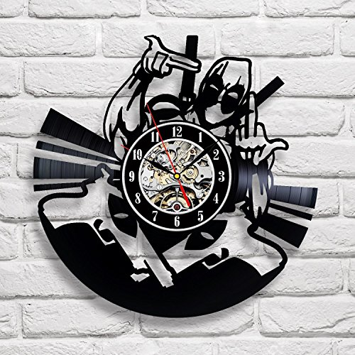 Deadpool Art Vinyl Wall Clock Gift Room Modern Home Record Vintage Decoration