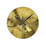 Grunge Rustic Guitar Illustration Round Clock