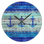 Rustic Navy Blue Coastal Decor Anchors Large Clock