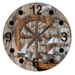 Rustic Vintage Ship of Time Large Clock