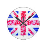 Shabby Chic British Flag – Polka Dots and Floral Round Clock