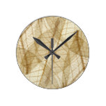 Sheer Cream Beige Lace Leaves Round Clock