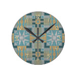 Turquoise Yellow Native American Indian Pattern Round Clock