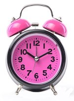 Maytime 3.5″ Quiet Non-ticking Silent Quartz Analog Retro Vintage bedside Twin Bell Battery Operated – Loud Alarm Clock With Loud Alarm and Nightlight(Pink)
