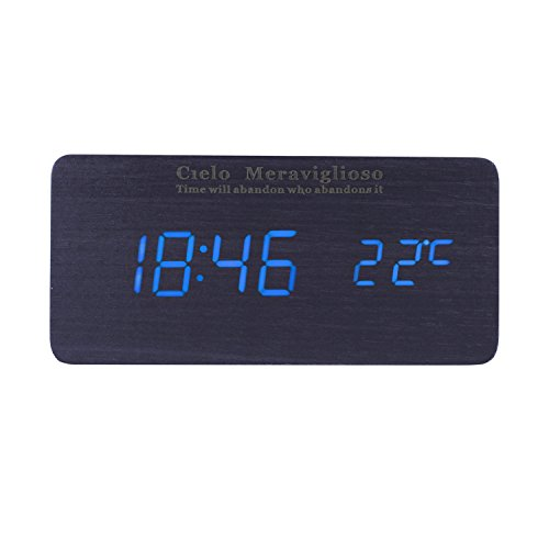 Cielo Meraviglioso Wood LED Clock with Voice Control,Temperature,Time,Alarm,Date Display and Snooze Mode Function (black+blue LED)