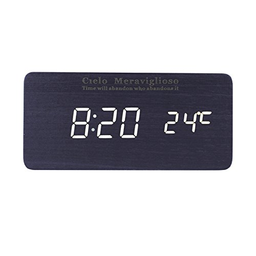 Cielo Meraviglioso Wood LED Clock with Voice Control,Temperature,Time,Alarm,Date Display and Snooze Mode Function (black+white LED)