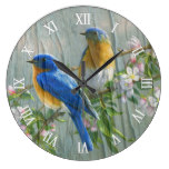 Blue Yellow Birds Cherry Blossom On Wood Pattern Large Clock